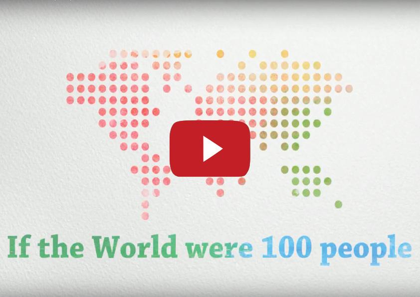 """Levende grafik lavet i Adobe Spark """"If the world were 100 people"""" Dette er en opgaveløsning fra et kursus i Infografik i bevægelse på DMJX i maj 2017. Vi fik en kort introduktion til Adobe Spark og en time til at producere en infografik fra bunden, dvs. alt fra idegenerering, storyboard, tekst, voice over, musik og grafik. Vi beklager, hvis udtale og oversættelse af de forskellige sprog er forkert, og hvis man kan høre baggrundstøj fra de 13 andre kursister! Ide, animation og voice-over: Pete Burke og Nanna Berentzen Østergaard."""