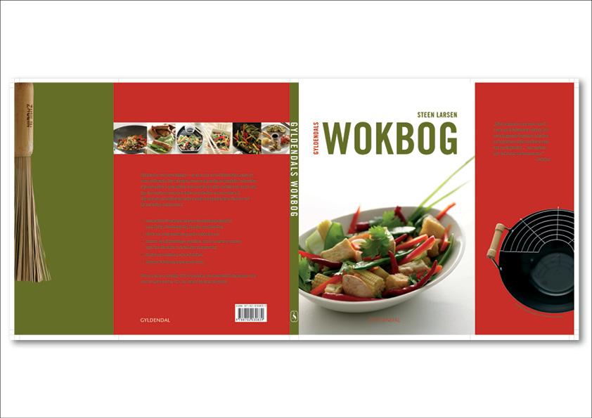 Gyldendals Wokbog af Steen Larsen. Omslagsdesign (paperback med flapper) af Nanna Berentzen Østergaard