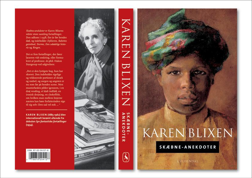 """Karen Blixen """"Skæbne-anekdoter"""". Gyldendal. Et seriedesign til både hardback og paperback lavet i samarbejde mellem Nanna Berentzen Østergaard og Nete Banke, Imperiet."""