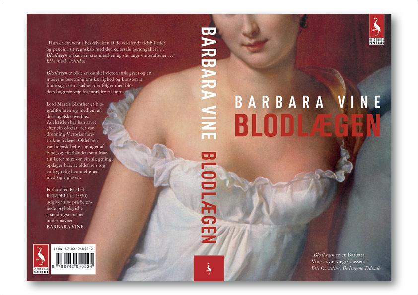 """Barbara Vine """"Blodlægen"""". Gyldendal Paperback. Omslagsdesign: Nanna Berentzen Østergaard"""