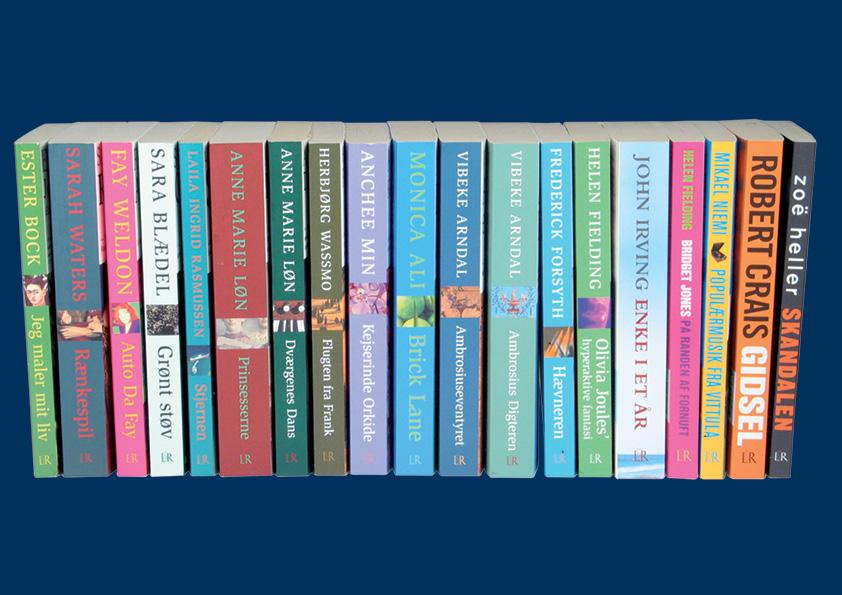 """Lindhardt og Ringhof Paperback serie. Laila Ingrid Rasmussen """"Stjernen"""". Vibeke Arndal """"Ambrosiumseventyret"""". Fay Weldon """" Auto da Fay"""". Frederick Forsyth """"Hævneren"""". Anchee Min """"Kejserinde Orkide"""". Helen Fielding """"Olivia Joules' hyperaktive fantasi"""". Sara Blædel """"Grønt Støv"""". Monica Ali """"Brick Lane"""". Ester Bock """"Jeg maler mit liv"""" Sarah Waters """"Rænkespil"""". Anna Marie Løn """"Prinsesserne"""". Anne Marie Løn """"Dværgenes Dans"""". Herbjørg Wassmo """"Flugten fra Frank"""". Helen Fielding """"Bridget Jones på randen af fornuft"""". Mikael Niemi """"Populærmusik fra Vittula. Robert Crais """"Gidsel"""". Zoë Heller """"skandalen"""". Omslagsdesign: Nanna Berentzen Østergaard"""