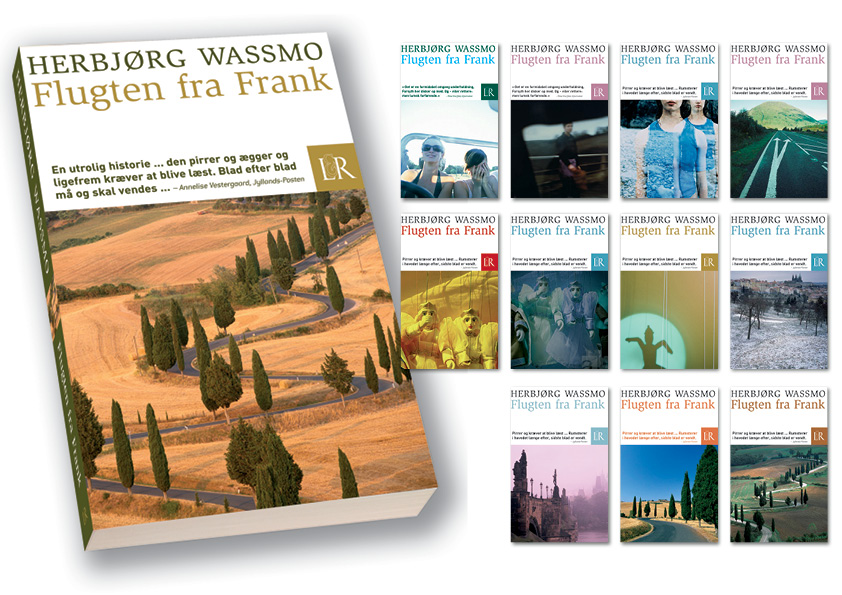 """Herbjørg Wassmo """"Flugten fra Frank"""". Lindhardt og Ringhof Paperback. Design af alle 12 forsider: Nanna Berentzen Østergaard"""
