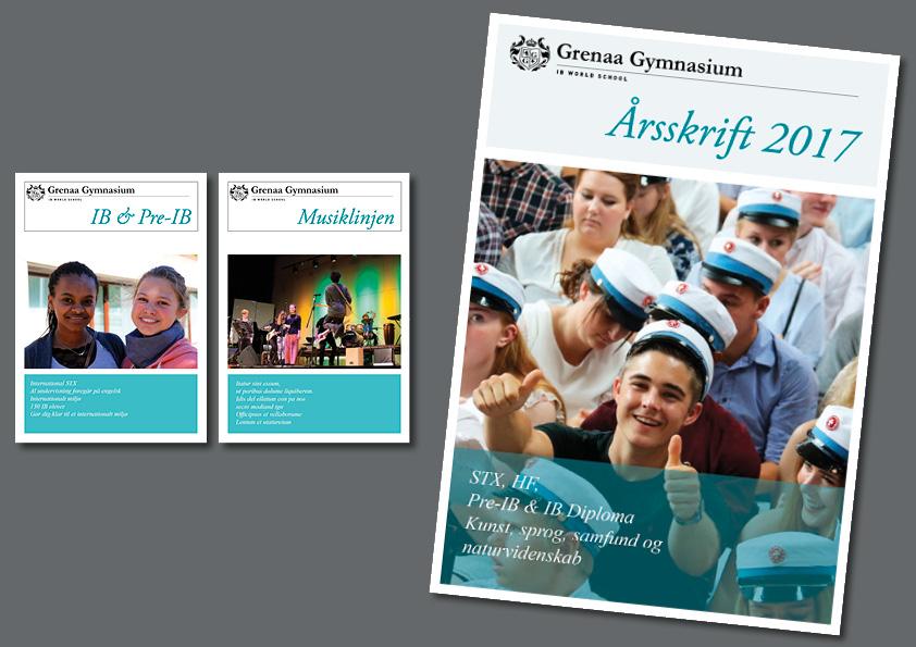 """Identitet, årsskrift, brochurer og logo til Grenaa Gymnasium. Egen opgave lavet som projekt """"En opgave - en dag"""" på eget initiativ. Grafisk design og ide: Nanna Berentzen Østergaard."""