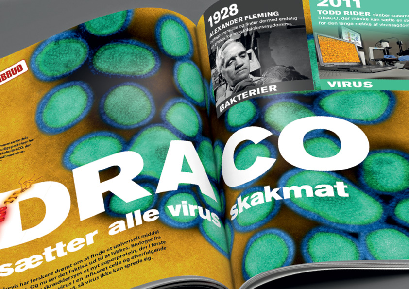 DRACO. Artikel om et universelt middel mod virus. Artikel fra Illustreret Videnskab. Design: Nanna Berentzen Østergaard.