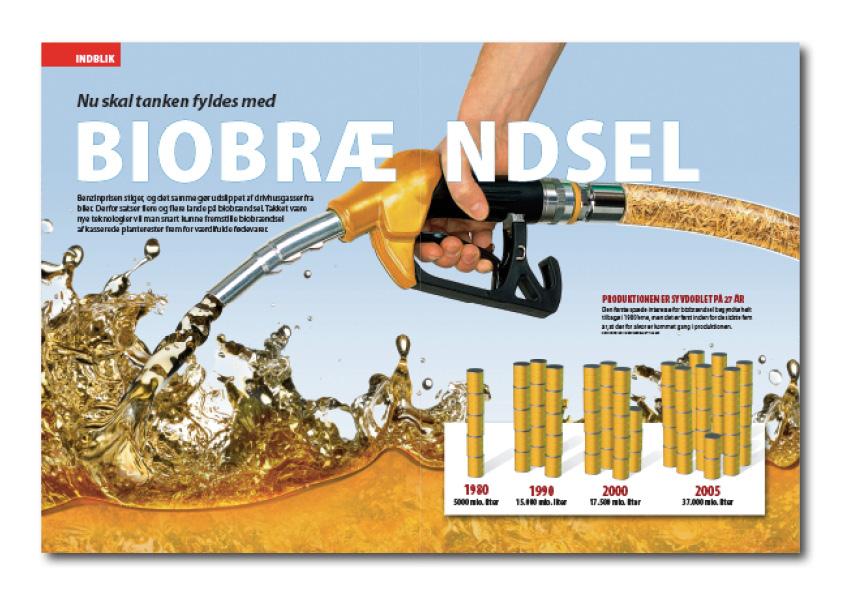 Biobrændsel. En ældre artikel fra Illustreret Videnskab om biobrændsel. Design og grafik: Nanna Berentzen Østergaard.