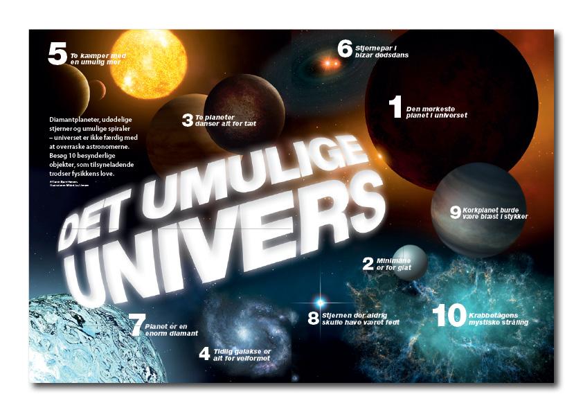 Det umulige univers. Artikel fra Illustreret Videnskab. Design og Photoshoparbejde, rubrik på 4 sprog: Nanna Berentzen Østergaard.