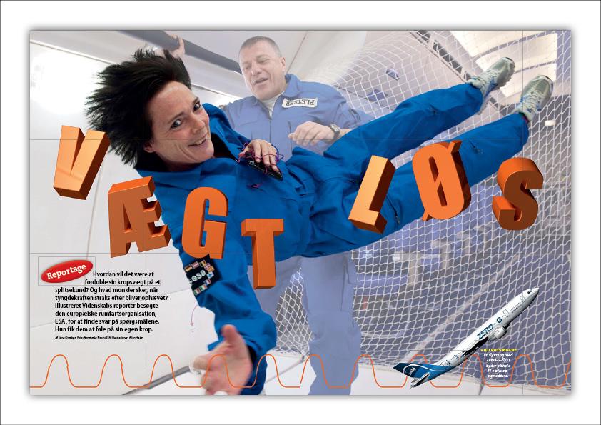 Illustreret Videnskab sendte vores journalist, Stine Overbye, ud med Zero-G-flyet også kendt som Vomit Comet for at prøve hvordan det er at være vægtløs. Design: Nanna Berentzen Østergaard.