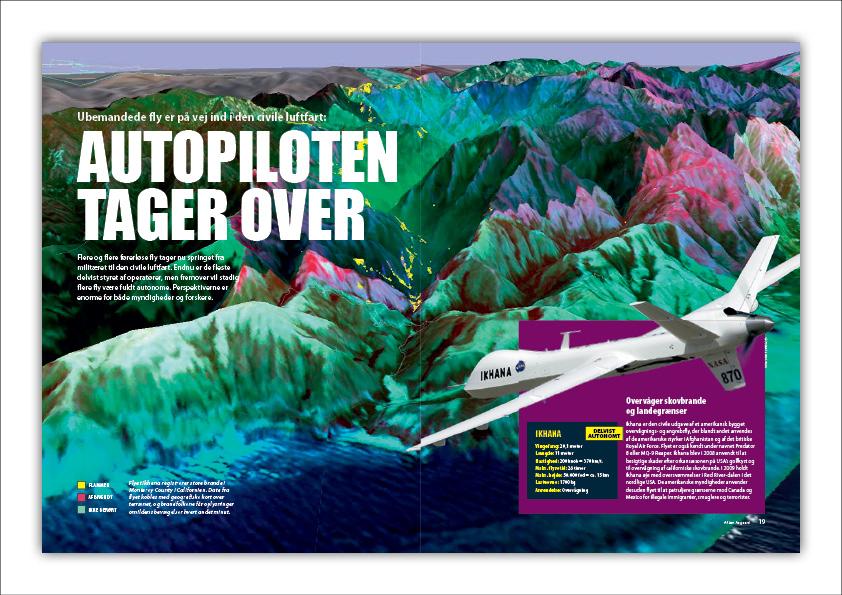 """""""Autopiloten tager over"""" Ubemandede fly er på vej ind i den civile luftfart. Artikel fra Illustreret Videnskab. Grafisk design: Nanna Berentzen Østergaard."""
