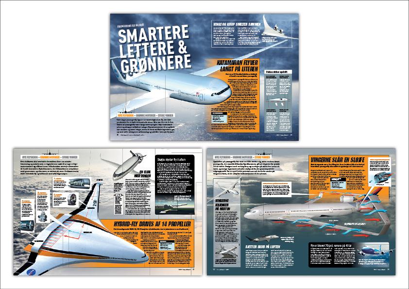 """""""Smartere, lettere og grønnere"""". Artikel om fly i Illustreret Videnskab. Grafisk design: Nanna Berentzen Østergaard. Illustrationer: Allan Højen"""
