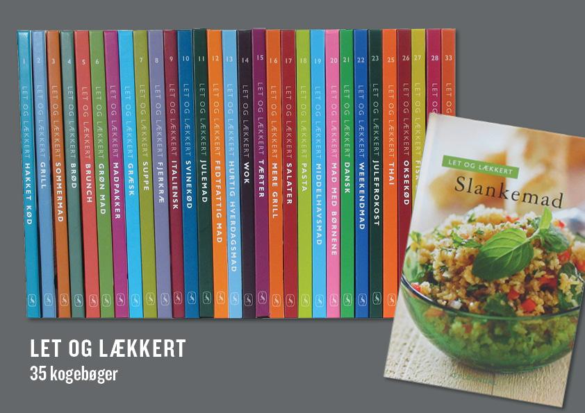 Rygge på 35 bind Let&Lækkert. Kogebogsserie på 35 bind (33 numerede bind og 2 ekstra udgivelser) Serien var tænkt som afløseren for Brugsens tidligere kogebøger og blev solgt i COOPs butikker for ca. 29,95 kr. Oprindeligt seriedesign: Nete Banke. Layout og sats 33 bind: Nanna Berentzen Østergaard.