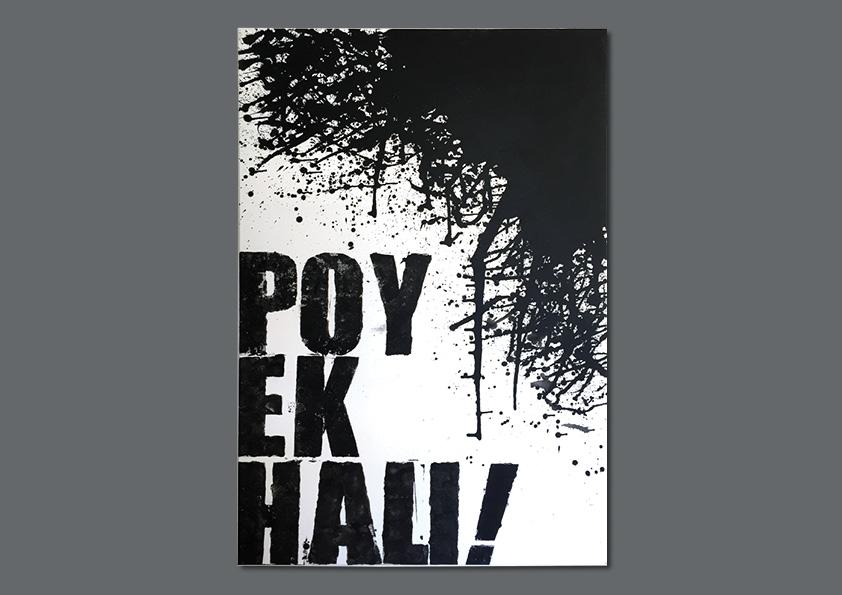 """Maleri: """"Poyekhali"""" 150 x 100 cm af Nanna Berentzen Østergaard. Akryl på lærred. Poyekhali betyder på russisk """"Here we come"""" og blev sagt af Jurij Gagarin, da han fløj ud i rummet."""