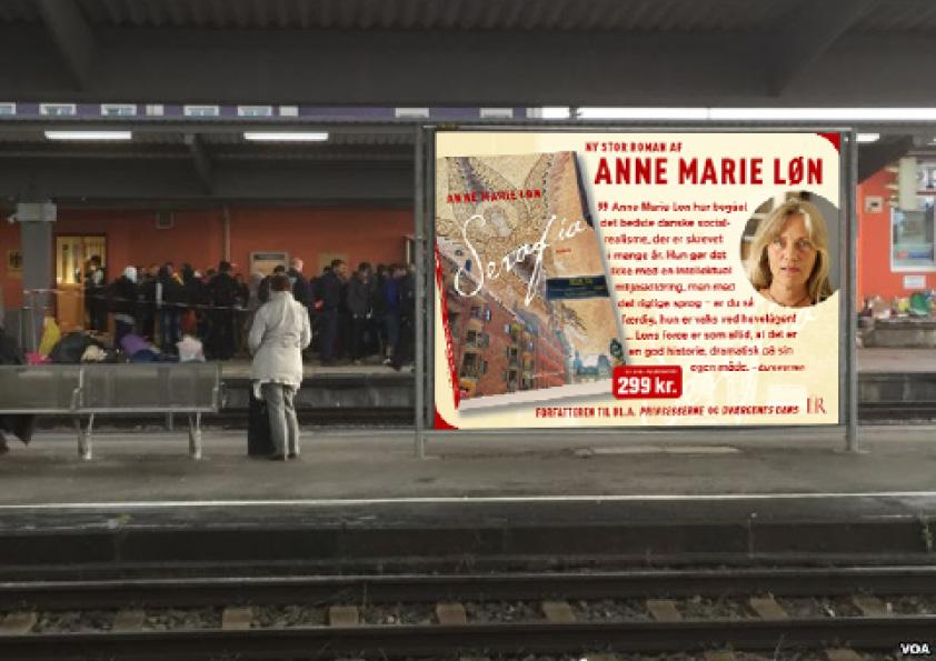 """Billboard til Nørreport Station. Anne Marie Løn """"Serafia"""". Komplet kampagne for Lindhardt og Ringhof, som både indeholdt bogomslag, læseprøve, plakater, billboards og banner til Frankfurt messen med hele forfatterskabet. Jeg udførte alt designarbejde, håndmalet skrift, fotografering, foto-retouch samt færdiggørelse til tryk."""