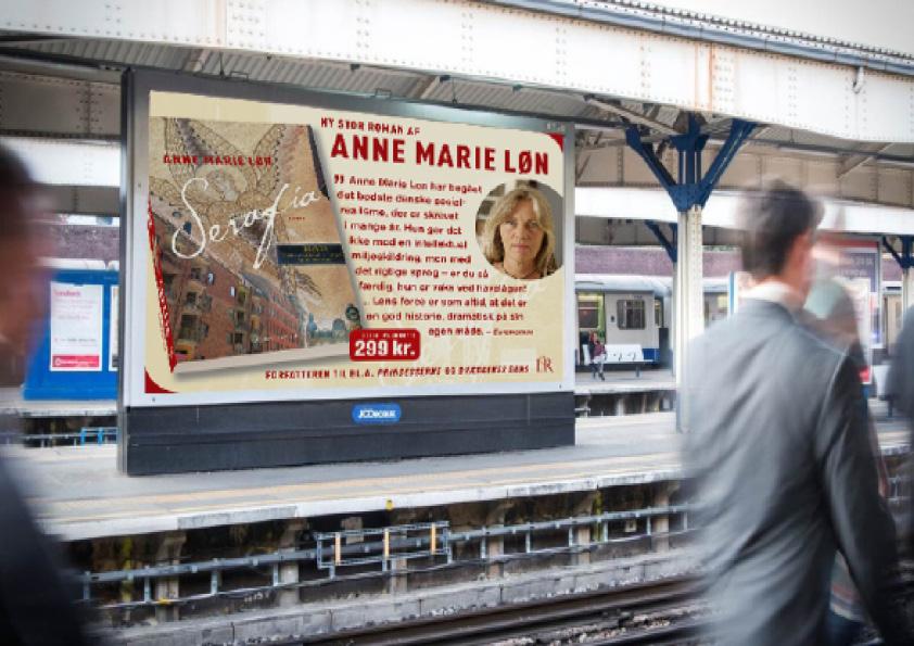 """Anne Marie Løn """"Serafia"""". Komplet kampagne for Lindhardt og Ringhof, som både indeholdt bogomslag, læseprøve, plakater, billboards og banner til Frankfurt messen med hele forfatterskabet. Jeg udførte alt designarbejde, håndmalet skrift, fotografering, foto-retouch samt færdiggørelse til tryk."""