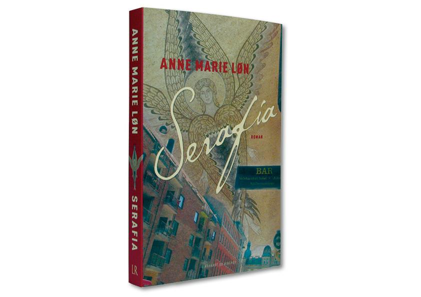 """Bogomslag. Anne Marie Løn """"Serafia"""". Komplet kampagne for Lindhardt og Ringhof, som både indeholdt bogomslag, læseprøve, plakater, billboards og banner til Frankfurt messen med hele forfatterskabet. Jeg udførte alt designarbejde, håndmalet skrift, fotografering, foto-retouch samt færdiggørelse til tryk."""