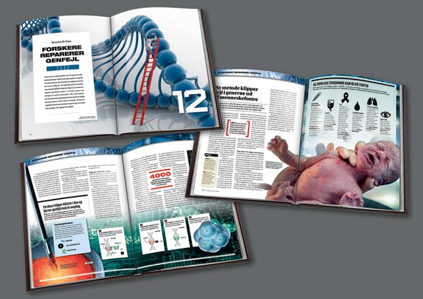 Kapitel om genredigering i Videnskabens Nye Verden Dette videnskabsbogværk på 12 bind, i alt 1.548 sider(plus pilotbogen på 129 sider), har jeg været med i tilblivelsen af helt fra starten. Jeg var med i idefasen, definerede bogværkets stil med designet af de 12 forsider, lavede de første mastersider, valgte fonte, farver, stil, lavede en designmanual og et omfattende Indesignbibliotek med bogens elementer. Jeg designede pilotbogen og layoutede den færdig sammen med Louise Meyland. Pilotbogen blev udsendt til alle Illustreret Videnskabs abonnenter i Danmark gratis, som testbog. Testen gik godt, og der blev samlet et større hold, som arbejdede videre på designet og genbearbejdedebind 1. Sammen med layoutchef Anne Clemensen, layoutede og designede jeg alle 1.548 sider til løbende udgivelse i 2016-2017. Cross-border design: Alle 12 bøger er udgivet på 6 sprog. Udgaverne på dansk, norsk, svensk og finsk er lavet med sortpladeskift, dvs kun den sorte plade skiftes ved tryk for hvert sprog. Herved opnåes en betydelig økonomisk besparelse, men designet skal konstrueres på en helt særlig måde for at undgå fejl. Man kan f.eks. ikke skrive med negativ skrift på farvede baggrunde og billeder. Alle bøgerne sprog- og designtjekkes efter oversættelse og INTET må rykke sig pga sortplade-tryk-metoden.  Omslagsdesign alle 12 bind, design og koncept, pilotbogs-design: Nanna Berentzen Østergaard. Layout af pilotbog:Nanna Berentzen Østergaard og Louise Meyland. Tekst pilotbog: Torben Simonsen (redaktør), Hanne-Luise Danielsen (chefredaktør), Philip Tafdrup og Michael Von Bülow m.fl. Design og layout bind 1-12: Anne Clemensen (layoutchef) ogNanna Berentzen Østergaard. Tekst bind 1-12: Malene Breusch Hansen (redaktør), Asser Helligsøe Pelle, Jakob Mikael Espersen og Hanne-Luise Danielsen (chefredaktør).