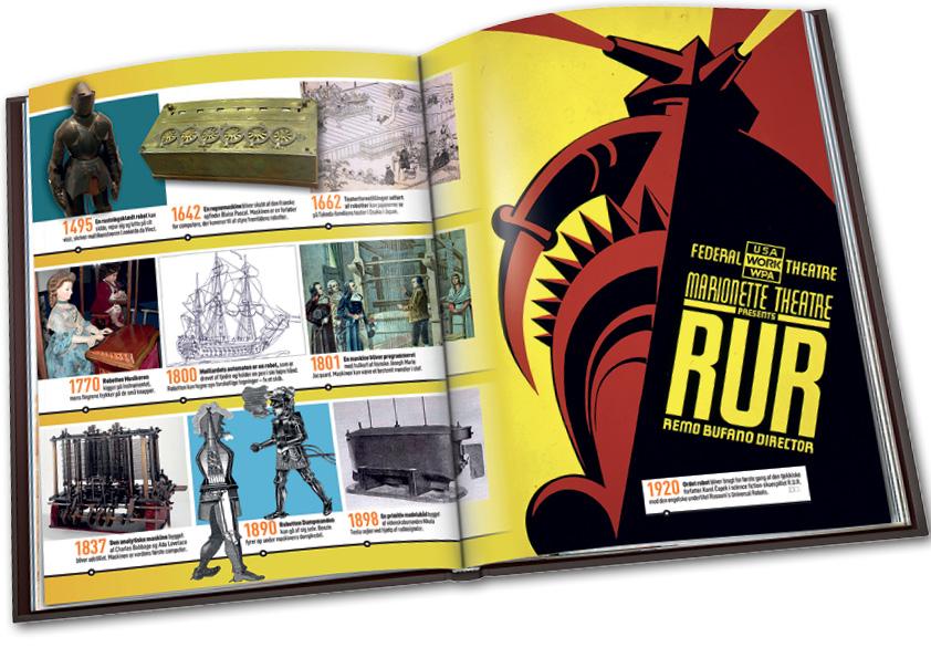Opslag fra tidslinien bind 8 om robotter, Videnskabens Nye Verden. Grafisk design og layout: Nanna Berentzen Østergaard.